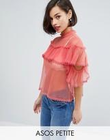 Asos Mesh Dobby Top with Cold Shoulder and Ruffle