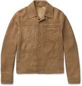 Bottega Veneta Slim-Fit Intrecciato-Trimmed Suede Jacket