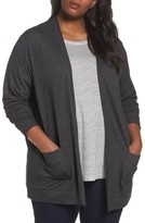Sejour Plus Size Women's Open Front Cardigan