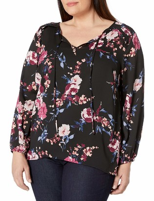 Amy Byer Women's Plus Size Smocked Shoulder Top
