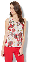 New York & Co. Chiffon-Overlay Shell - Floral
