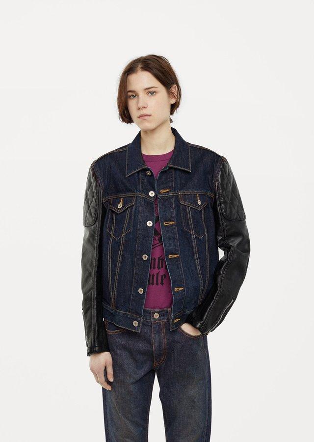 Junya Watanabe Denim Leather Jacket Indigo Black Size: Small