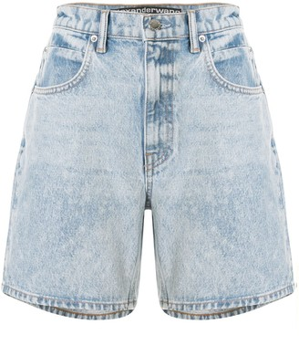 T By Alexander Wang Logo Patch Denim Shorts