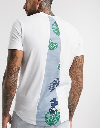 Jack and Jones Originals curved hem back print t-shirt in white