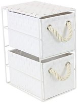JVL 2-Drawer White Storage Unit with Rope Handles, 18 x 25 x 33 cm