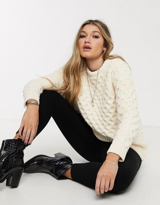 Topshop cable knit jumper in ivory