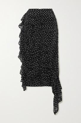 Dries Van Noten Asymmetric Ruched Polka-dot Silk-georgette Midi Skirt - Black