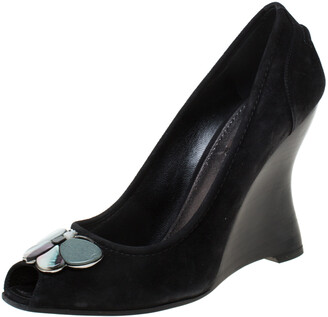 Louis Vuitton Black Suede Butterfly Peep Toe Wedge Pumps Size 38.5