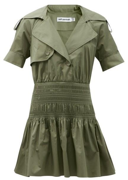 Self-Portrait Smocked-waist Cotton Trench Mini Dress - Khaki