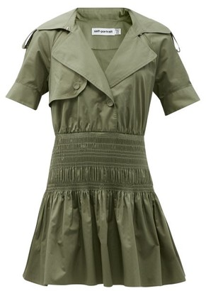 Self-Portrait Smocked-waist Cotton Trench Mini Dress - Khaki