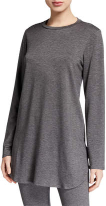 Eileen Fisher Plus Size Stretch Terry Long-Sleeve Shirttail Long Tunic