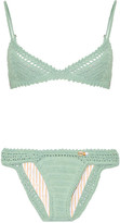 She Made Me Crocheted Cotton Triangle Bikini - Gray green