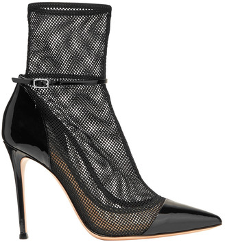 Gianvito Rossi 100 Mesh And Patent-leather Ankle Boots