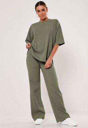 Missguided Khaki Rib T Shirt And Wide Leg Pants Co Ord Set