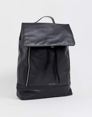 Asos Design DESIGN leather backpack in black with zip detail and front flap