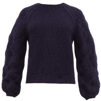 Apiece Apart Seed Pointelle Alpaca-blend Sweater - Womens - Navy