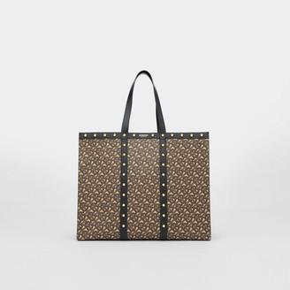 Burberry Monogram Print E-canvas Tote Bag