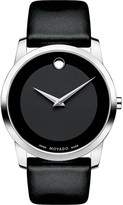 Movado 0606502 museum classic stainless steel and leather watch