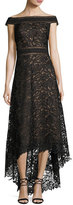Tadashi Shoji Off-the-Shoulder Lace High-Low Gown