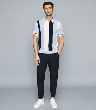 Reiss Ossie - Colour Block Zip Neck Polo Shirt in Blue