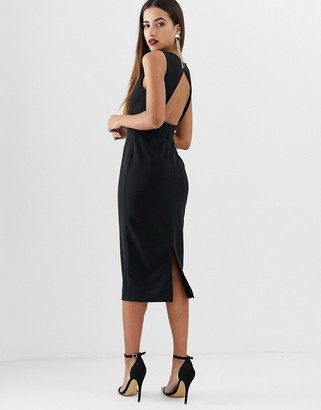Asos Design DESIGN V front V back midi dress with tort buckle-Black