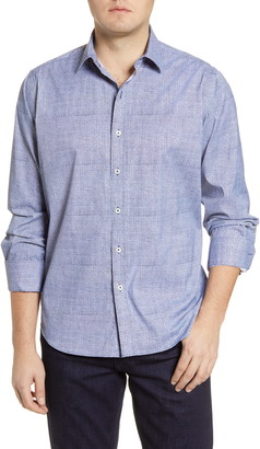 Bugatchi Classic Fit Paisley Button-Up Performance Shirt