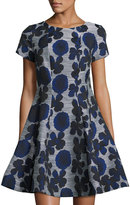 Donna Ricco Floral-Print Fit-and-Flare Dress, Navy