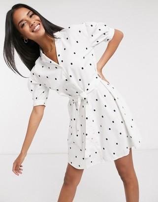 Pimkie mini shirt dress with tie waist in polka dot print