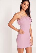 Missguided Feather Bust Bodycon Dress Lilac