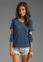 Blue Life Scoop Neck Cut Out Sleeve Tee