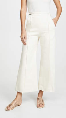 Rosetta Getty Pintuck Flare Crop Trousers