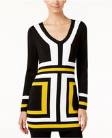 INC International Concepts V-Neck Colorblocked Tunic Sweater, Only at Macy's