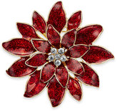 Charter Club Gold-Tone Red Epoxy Crystal Poinsettia Pin, Only at Macy's