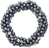 Charter Club Silver-Tone Gray Imitation Pearl and Crystal Cluster Stretch Bracelet, Only at Macy's