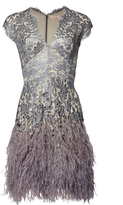 Matthew Williamson Silver Lacquer Lace Feather Dress