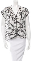 Alice + Olivia Leather-Trimmed Short Sleeve Top