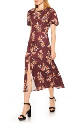 Alexia Admor Button Down Puff Sleeve Midi Dress