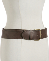 dark brown shredded leather belt
