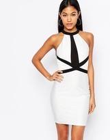 Lipsy High Neck Bandage Bodycon Dress With Contrast Strap Detail