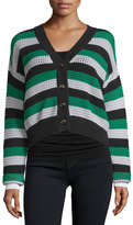 See by Chloe Button-Front Cropped Cardigan, Green/White