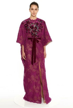 Marchesa Abstract Lace Caftan