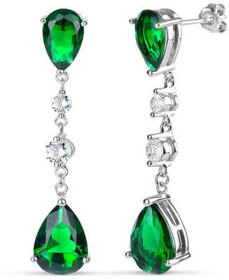 FINE JEWELRY Simulated Green Emerald Sterling Silver Pear Drop Earrings