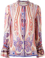 Etro printed collarless shirt