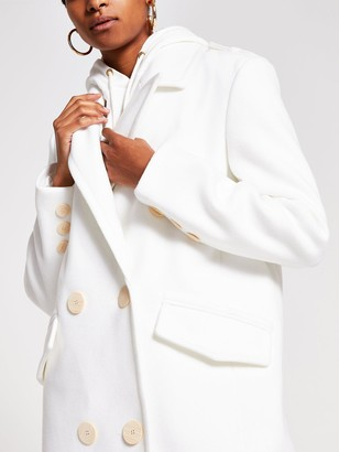 River Island Power Shoulder Double Breasted Smart Coat - White