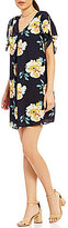 Moa Moa Floral Printed Tie Sleeve Shift Dress