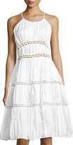 Zac Posen Novelty Cotton-Blend Fit-and-Flare Dress, White