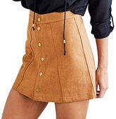 Verypoppa Women A Line Button Down High Waist Mini Skirt