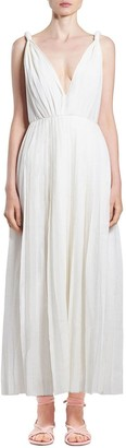 Gabriela Hearst Pleated Wool & Cashmere Gauze Dress
