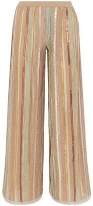 Missoni Sequin-embellished Striped Metallic Crochet-knit Wide-leg Pants