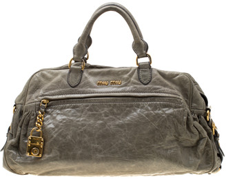 Miu Miu Green Leather Charm Satchel